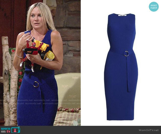 Diane von Furstenberg Belted ribbed cotton-blend midi dress worn by Sharon Collins (Sharon Case) on The Young & the Restless