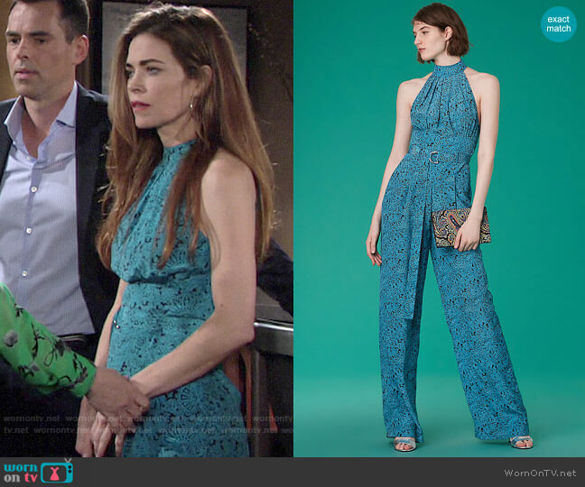 Diane von Furstenberg Halter Neck Belted Jumpsuit in Calloway Black worn by Victoria Newman (Amelia Heinle) on The Young & the Restless