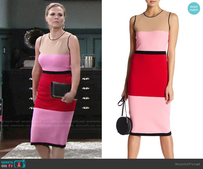 Diane von Furstenberg Colorblock Knit Dress worn by Phyllis Newman (Gina Tognoni) on The Young & the Restless
