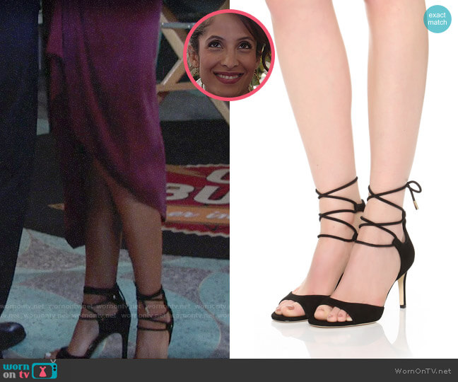 Diane von Furstenberg Rimini Ankle Wrap Sandal worn by Christel Khalil on The Young & the Restless