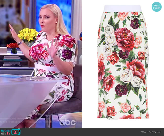 Floral Crepe Skirt by Dolce & Gabbana worn by Meghan McCain on The View