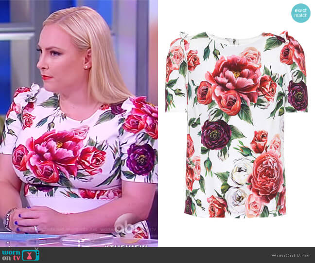 Floral Crepe Top by Dolce & Gabbana worn by Meghan McCain on The View