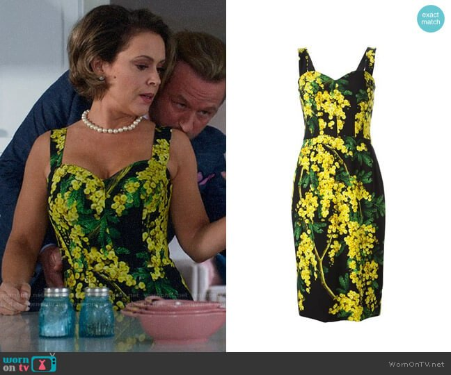 Dolce & Gabbana Acacia Print Dress worn by Coralee Armstrong (Alyssa Milano) on Insatiable