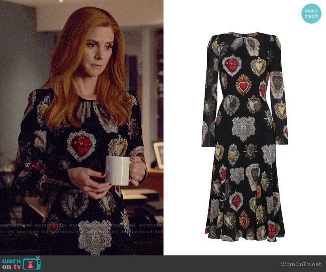 Dolce & Gabbana Heart Print Midi Dress worn by Sarah Rafferty on Suits