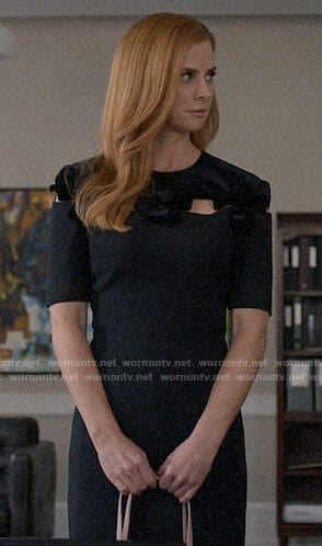 Donna's black dress with velvet bows on Suits