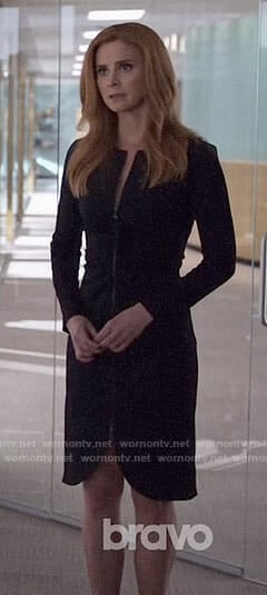 Donna's black zip front dress on Suits