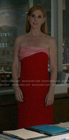 Donna's red and pink strapless gown on Suits