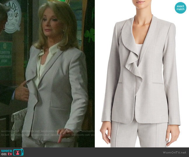 Siyah Ruffle-Collar Jacket by Elie Tahari worn by Marlena Evans (Deidre Hall) on Days of our Lives