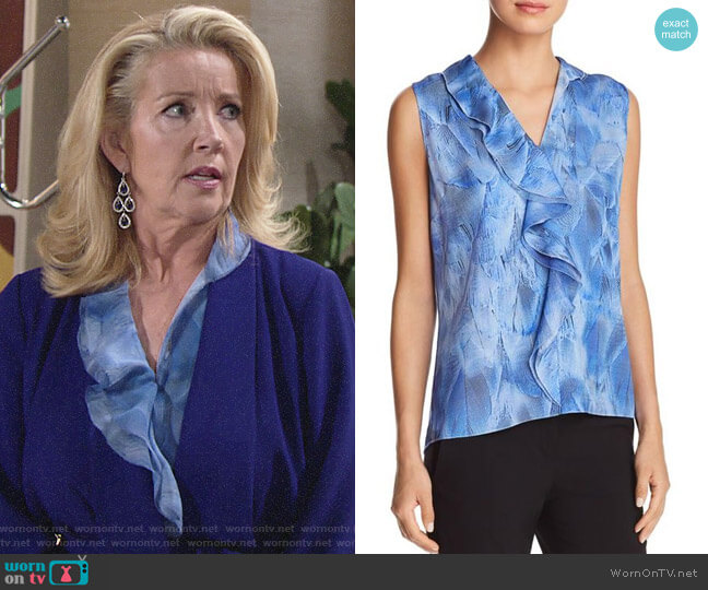 Elie Tahari Ardeena Blouse worn by Nikki Reed Newman (Melody Thomas-Scott) on The Young & the Restless