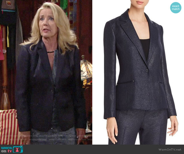 Elie Tahari Monet Metallic Blazer worn by Nikki Reed Newman (Melody Thomas-Scott) on The Young & the Restless