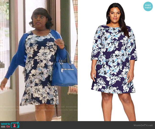 Eliza J Floral Drop Waist Dress worn by Sherri Shepherd on Trial & Error