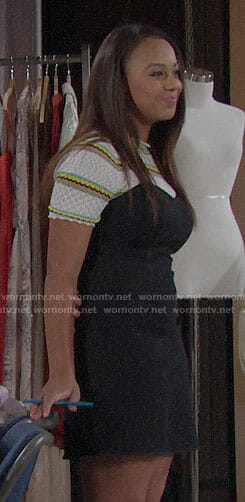 Emma's striped top and black denim dress on The Bold and the Beautiful