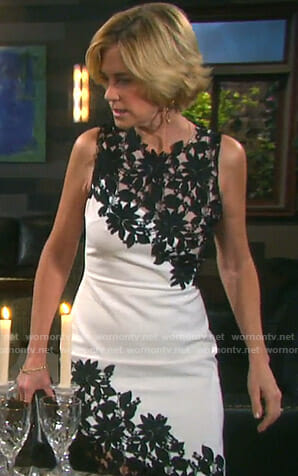 Eve's black and white floral lace dress on Days of our Lives