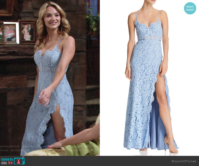 Fame and Partners The Kirsten Lace Bustier Gown worn by Summer Newman (Hunter King) on The Young & the Restless