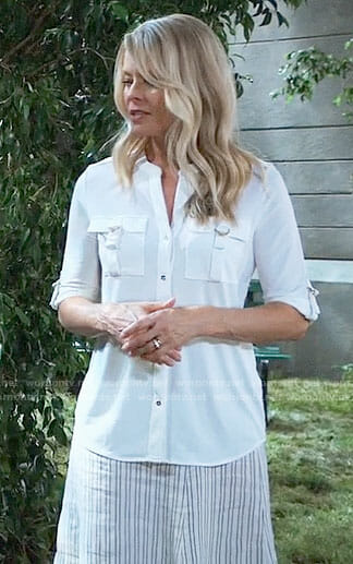 Felicia's white button down blouse on General Hospital