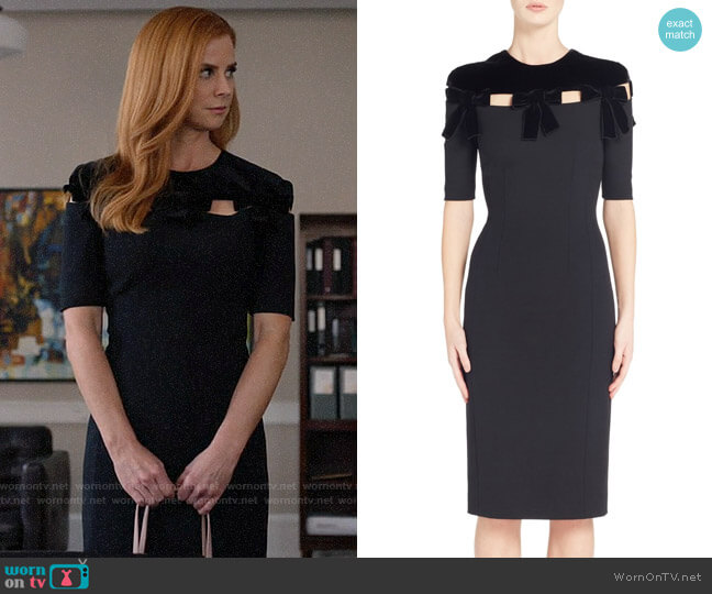 Fendi Velvet Bow Detail Dress worn by Donna Paulsen (Sarah Rafferty) on Suits