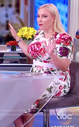 Meghan's floral print top and midi skirt on The View