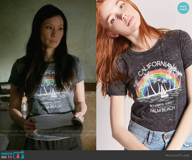 Forever 21 California Palm Beach Graphic Tee worn by Joan Watson (Lucy Liu) on Elementary