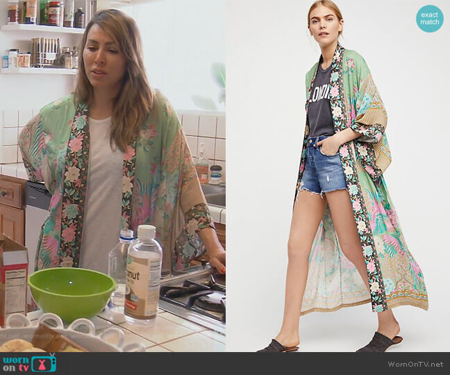 Cloud Dancer Maxi Kimono by Free People worn by Kelly Dodd  on The Real Housewives of Orange County