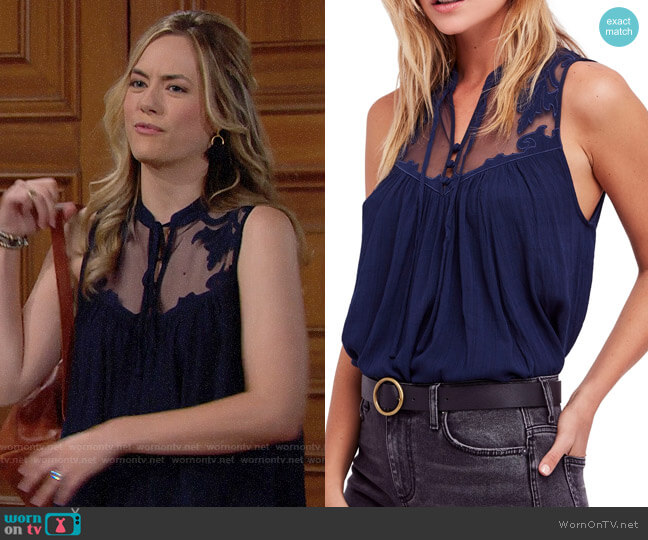 Free People Western Romance Tank worn by Hope Logan (Annika Noelle) on The Bold & the Beautiful