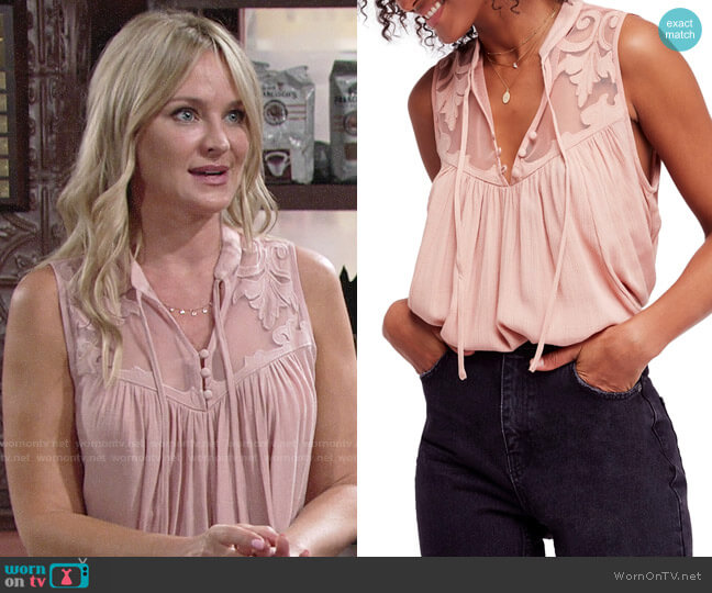 Free People Western Romance Tank worn by Sharon Collins (Sharon Case) on The Young & the Restless