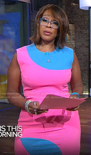 Gayle King's pink and blue colorblock dress on CBS This Morning