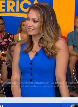 Ginger's blue button front jumpsuit on Good Morning America