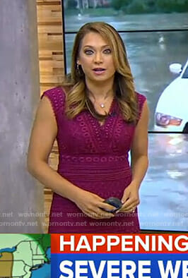 Ginger's purple v-neck lace dress on Good Morning America