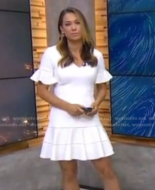 Ginger's white ruffle sleeve dress on Good Morning America
