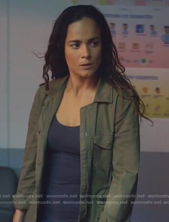 Teresa's green army jacket on Queen of the South
