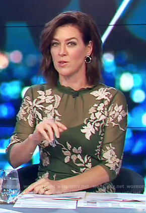 Gorgi's green floral embroidered dress on The Project