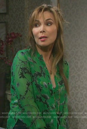 Kate's floral v-neck blouse on Days of our Lives