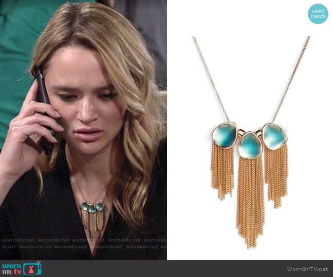 Halogen Painted Petal Fringe Necklace worn by Summer Newman (Hunter King) on The Young & the Restless