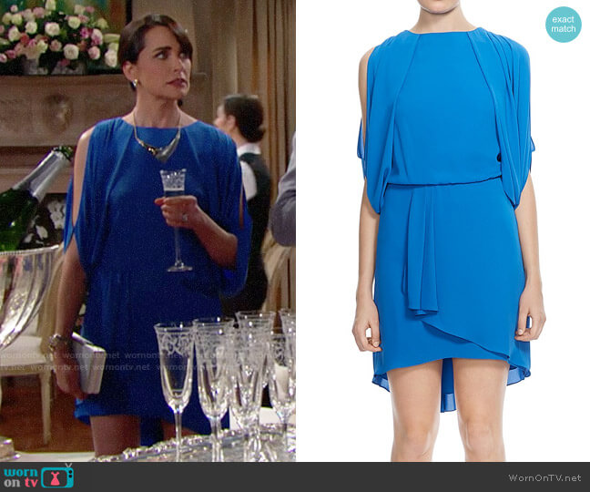 Halston Heritage Draped Cowl-Back Dress worn by Quinn Fuller (Rena Sofer) on The Bold & the Beautiful