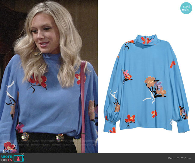 H&M Blouse with Stand Up Collar worn by Melissa Ordway on The Young & the Restless