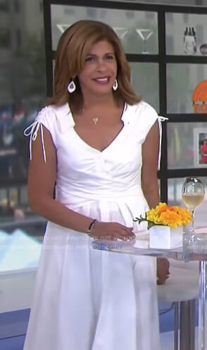 Hoda's white wrap waist shirtdress on Today