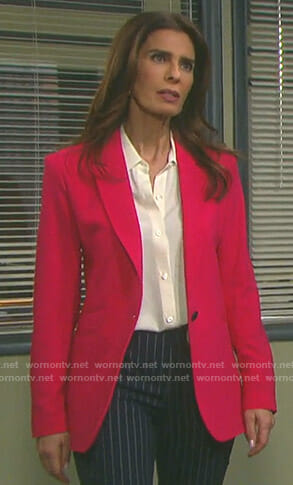 Hope's tie cuff shirt and pink blazer on Days of our Lives