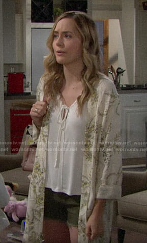 Hope's white tie top and floral kimono jacket on The Bold and the Beautiful