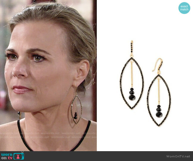 INC International Concepts Gold-Tone Stone Orbital Drop Earrings worn by Phyllis Newman (Gina Tognoni) on The Young & the Restless