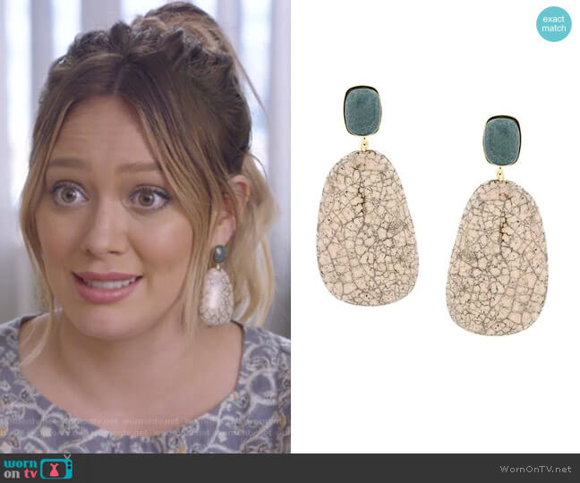 Stone Drop Earrings by Isabel Marant Etoile worn by Hilary Duff on Younger
