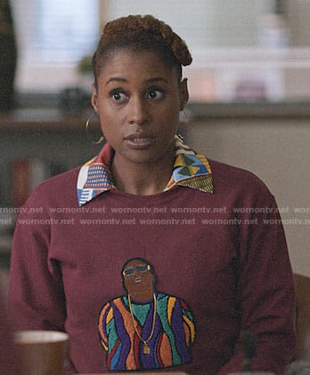Issa's patchwork print shirt and sweatshirt on Insecure