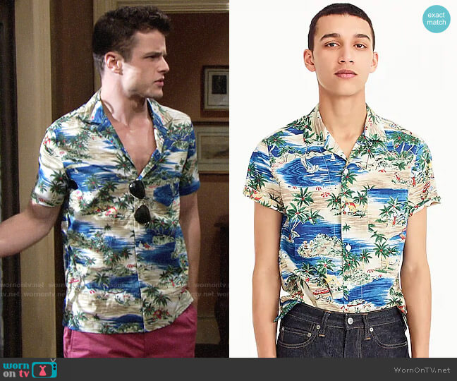 J. Crew Short-sleeve slub cotton shirt in island print worn by Michael Mealor on The Young & the Restless