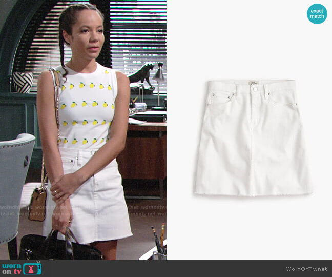 J. Crew White denim skirt with raw hem worn by Mattie Ashby (Lexie Stevenson) on The Young & the Restless