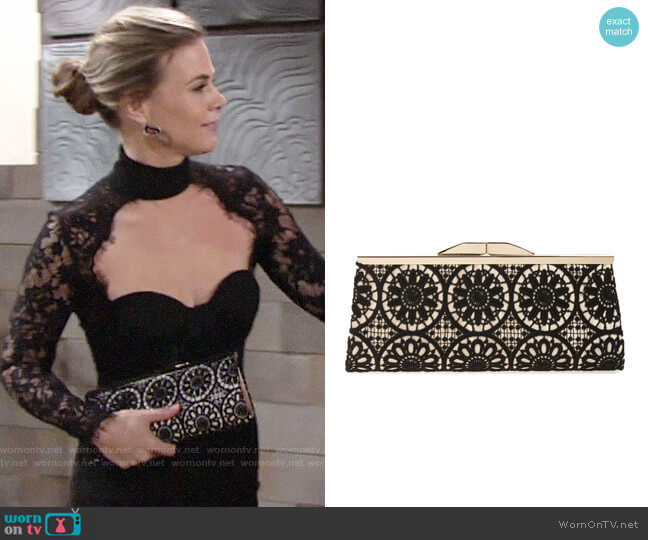 Jessica McClintock Sloan Floral Lace Clutch worn by Phyllis Newman (Gina Tognoni) on The Young & the Restless