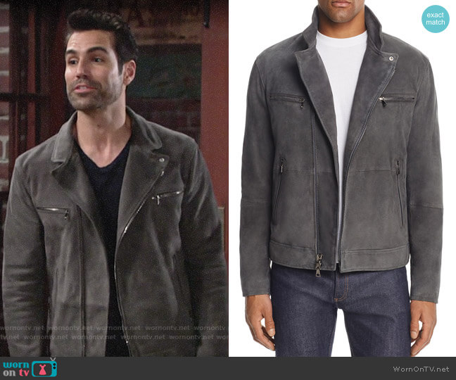 John Varvatos Collection Gray Suede Moto Jacket worn by Jordi Vilasuso on The Young & the Restless