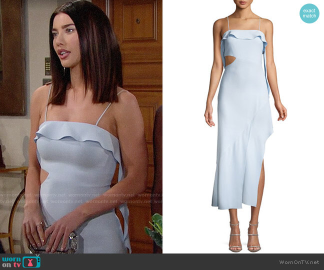 Jonathan Simkhai Cutout High-Low Ruffle Cocktail Dress worn by Jacqueline MacInnes Wood on The Bold & the Beautiful