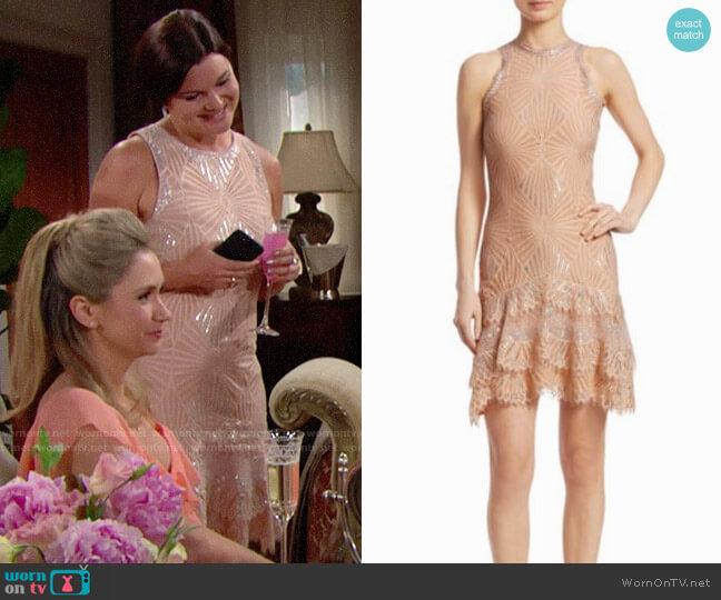 Jonathan Simkhai Sheer Metallic Tiered Mini Dress worn by Heather Tom on The Bold & the Beautiful