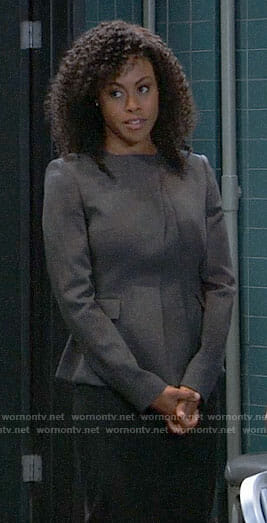 Jordan's grey peplum jacket on General Hospital