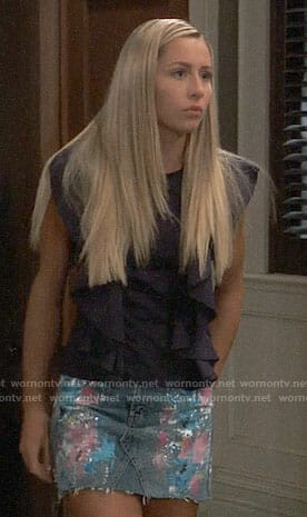 Josslyn's paint splatter denim skirt on General Hospital