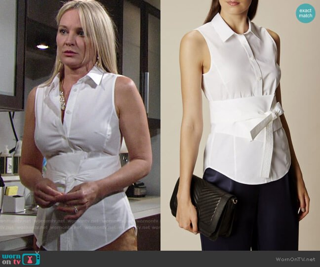 Karen Millen Banded Tie-Front Shirt worn by Sharon Collins (Sharon Case) on The Young & the Restless